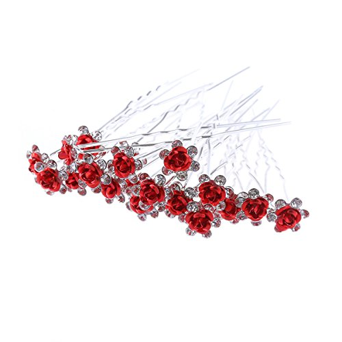 20pcs Rhinestone Rose Flower Hair Bobby Pin Crystal Bride Wedding Metal Hair Clip Decoration U Shape Jewelry Headpiece Accessories, Red -