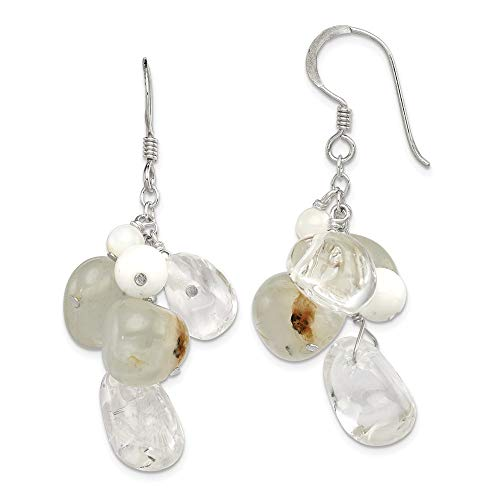 (925 Sterling Silver Jade/mother Of Pearl/moonstone/rock Quartz Drop Dangle Chandelier Earrings Fine Jewelry Gifts For Women For Her )