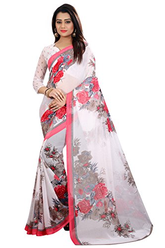 Muta Fashion Georgette Women Saree (White)