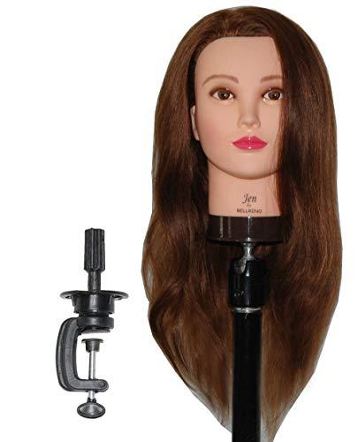 Zvena Beauty 24 100% Human Hair Cosmetology Mannequin Manikin Training Head with Clamp (24 MEDIUM BROWN (JEN+C))