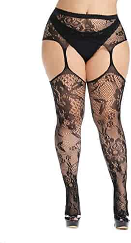 e66d2b860 CURRMIEGO Womens fishnet tights Plus Size Lace Suspender Pantyhose Stocking