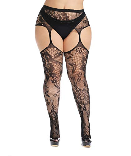 (CURRMIEGO Womens fishnet tights Plus Size Lace Suspender Pantyhose Stocking (Black9, Plus Size))