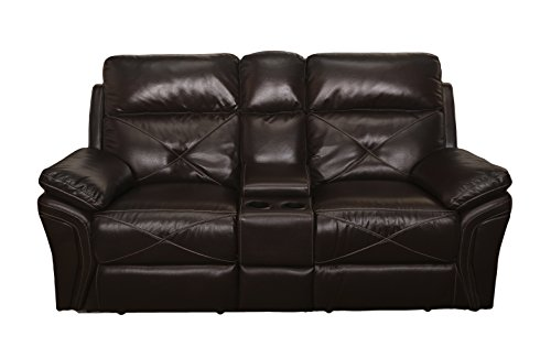 New Classic 20-326-25-SCH Galaxy Dual Recliner Console Loveseat, Chocolate For Sale