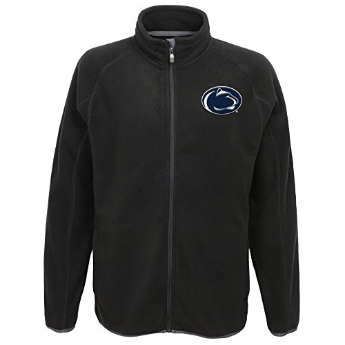 "NCAA by Outerstuff NCAA Penn State Nittany Lions Men's ""Scrimmage"" Polar Fleece Full Zip Jacket, Black, Men's X-Large"