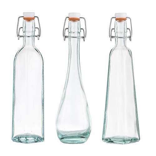 Tablecraft H6634 Resealable Glass Bottles, 4-Ounce, Assorted, Set of 3, 9.125