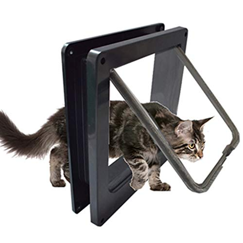 Playpens Cat Doors Magnetic pet Door with 4-Way Rotary Lock for Cats, Kittens and Kittens Improved Version