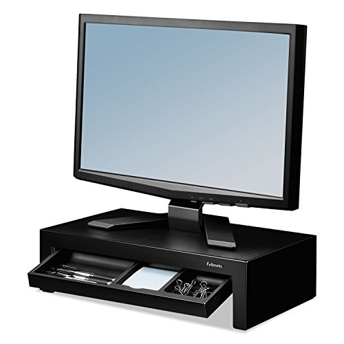 UPC 999992511666, FELLOWES MANUFACTURING Adjustable Monitor Riser with Storage Tray, 16 x 9 1/2 x 4 1/2-6, Black (8038101) by Fellowes