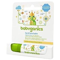 Babyganics Lip & Face Balm, Fragrance Free 0.25 oz (7.4 ml)(pack of 2)