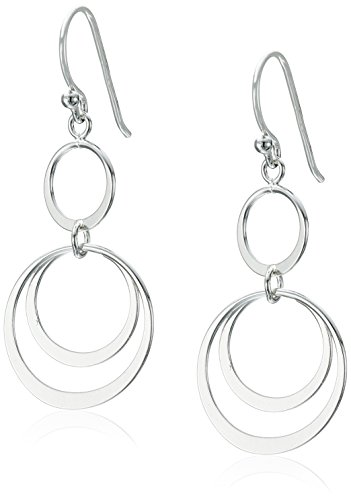 Sterling Silver Triple Round Link Drop Earrings