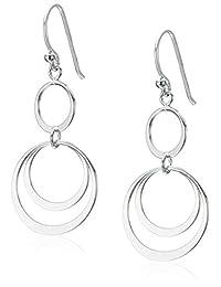 Sterling Silver Triple Round Link Drop Earrings