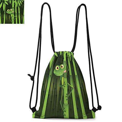 - Animal Easy to carry drawstring backpac Funny Illustration of Friendly Fun Frog on Stem of the Bamboo Jungle Trees Cute Nature Durable Drawstring Backpack W13.4 x L8.3 Inch Green