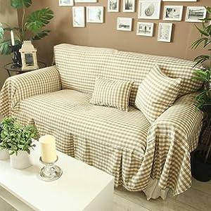 DIAIDI Ligth Coffee Khaki Small Grid Sofa Cover Set, Rustic Gingham Sofa  Slipcover, Modern Canvas Cotton Sofa Cover Set Chic