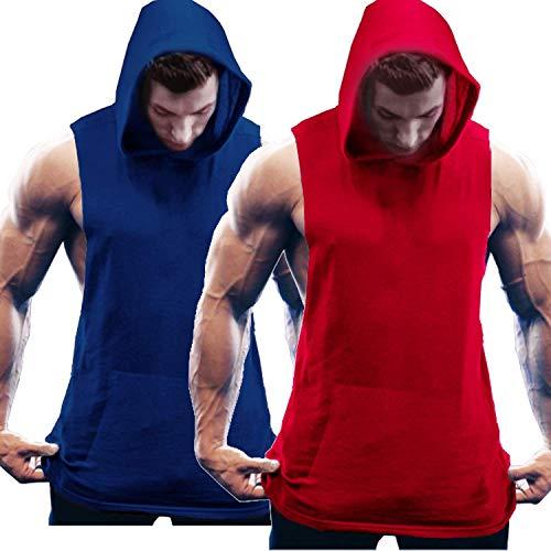 COOFANDY Tanktop voor heren, mouwloos, workout, sport, fitness, hoodie, spiershirt voor gym, training, verpakking van 2…