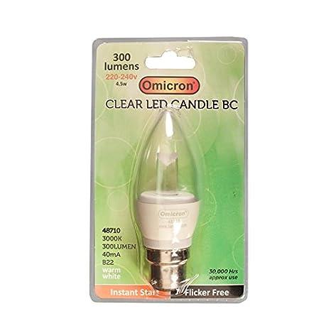 Omicron - Bombilla LED de bajo consumo (4,5 W, casquillo de bayoneta, 3000 K, tipo pera), color blanco: Amazon.es: Iluminación