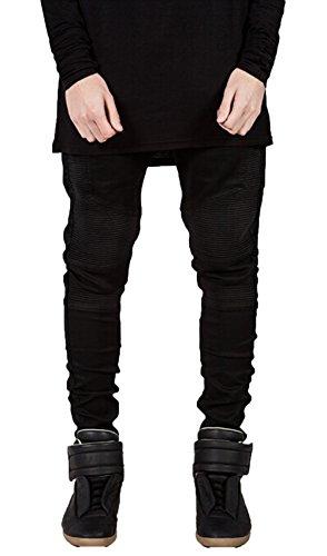 Mens Skinny Runway Distressed Slim Denim Biker Jeans Hiphop Pants