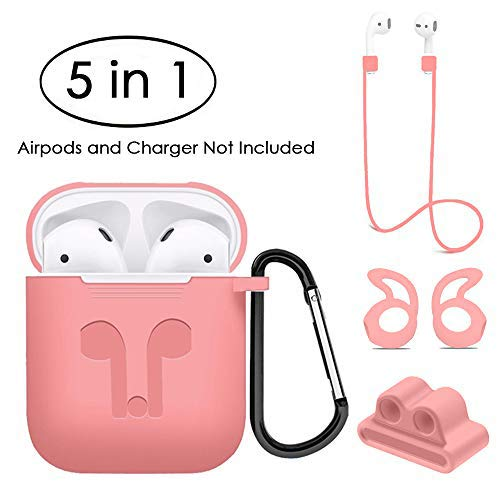 Jinxtech Compatible Airpods Case, 5 in 1 Airpods Accessories Kits, Silicone Protective Skin and Cover for Apple Airpods, Best Gift for Girls and Women(Pink)