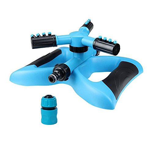 Lawn sprinkler automatic garden sprinkler,360-degree rotating garden sprinkler head adjustable Rotating Watering System covering 3600 square feet of water spray (blue 1pack) For Sale