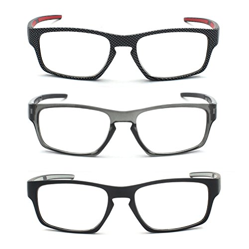 EYE-ZOOM 3 Pairs Outdoor Reading Glasses with Soft Reader Pouch for Comfort Fit Men and Women Choose Your Magnification, +1.00 - Faces Glasses Narrow For Reading