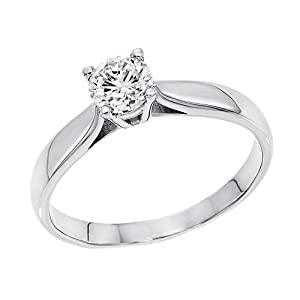 IGI Certified 14k white-gold Round Cut Diamond Engagement Ring (0.50 cttw, F Color, SI1 Clarity) - size 5.5