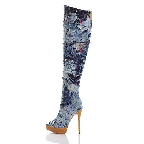 Tacco I Stivali Cerniera Al Jeans Di Modo Umexi Di Piattaforma Alti Blu Ginocchio Delle Tacchi Pigolio Donne Spillo A Punta nZBnrAa