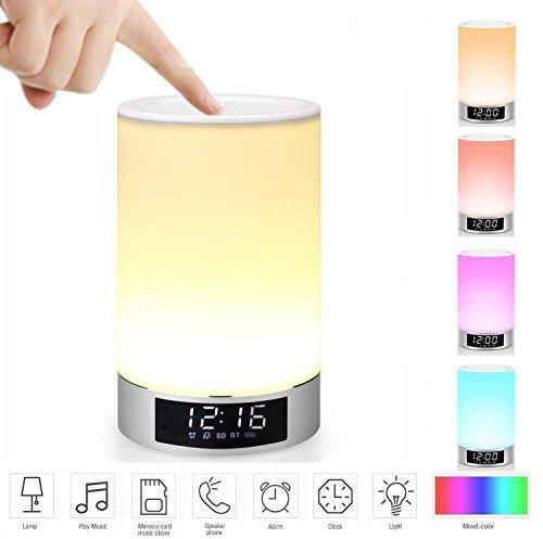 Wake-Up Light RGB Lichtwecker Bluetooth Lautsprecher Farbwechsel Lampe Nachttischlampe Touch control lampe RGB& LED Kinder Nachtlicht Modus, Musik Stimmungslicht Tischlampe, Zeituhr, TF-Karten-Musik Spielen, Schlafmodus .