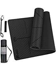 24HOCL Yoga Mat with Alignment Lines, Non-Slip Pro Exercise Mat with Carrying Strap Storage Bag Sport Headband for All Types of Yoga, Pilates & Floor Workouts (183 x 61cm-6mm)