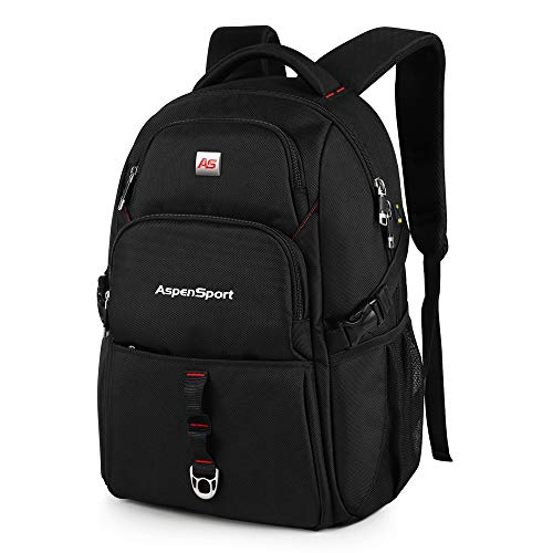 ASPENSPORT Lightweight Laptop Backpack Fit 17 Inch Computer Durable College Students Book Bag Water Repellent Business Travel Hiking Daypack Large 36L Black