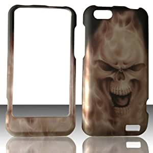 2D Grey Skull HTC One V Virgin Mobile, U. S. Cellular Case Cover Hard Phone Case Snap-on Cover Cases