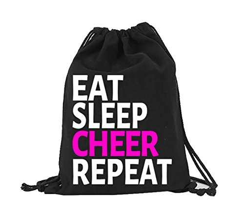Eat Sleep Cheer Repeat Black Drawstring Canvas Bag Cheerleader Gift Idea Cheerleader bags for Girls Boys -