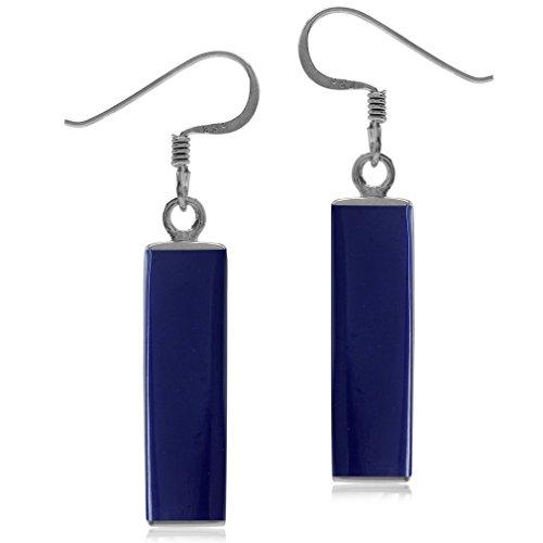 Mondern Long Bar Linear 925 Sterling Silver Dangle Hook Earrings (Blue Lapis) ()