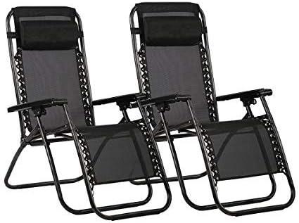 Havnyt Zero Gravity - Juego de 2 sillas reclinables para jardín, color negro: Amazon.es: Hogar