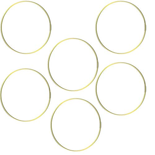 HOHIYA Metal Ring Macrame Hoop Dream Catcher Craft Round Brass Plated 10inch(Gold,Pack of 6)