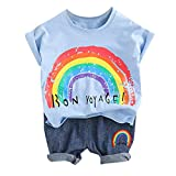 Baby Outfits Set 2pcs, Summer Toddler Boyscasual Cartoon Rainbow Tops + Short Pants Clothes Suits (6-12 Months, Light Blue)