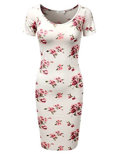 Doublju Short Sleeve Fitted Solid & Printed Bodycon Midi Dress For Women With Plus Size (Made In USA) FLORALIVORY - Usa Shop From