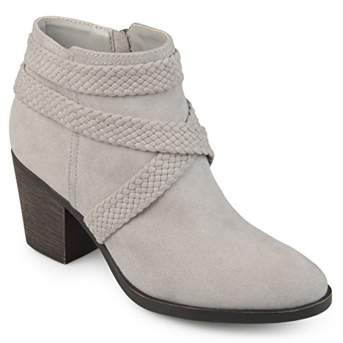 Journee Collection Womens Almond Toe Criss Cross Strap Booties Grey Dd2WY20Dat