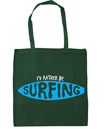 Hippowarehouse 42 nbsp;cm Oscuro Bolsa Compras De 10 X38 'd Tote nbsp;cm Playa Surfing I Be Rather nbsp;litros Verde qTqOcACB