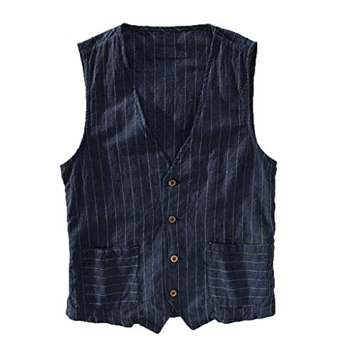Linen Jacket Tank Tops Men's Button Down Striped Wild Lightweight Slim Fit Pockets Waistcoat Tops Vest Tees Navy ()