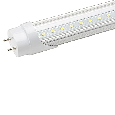 Jarsant T8 G13 18W 6500K 4ft LED Tube Light(40W Equivalent)Dual-Ended Power, Clear PC Cover and Aviation Aluminum
