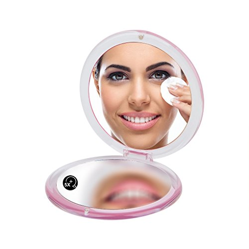 (ROUND PMMA COMPACT MIRROR, Double Sided Travel Makeup Mirror with 1x/5x Magnification and assorted colors (PINK))