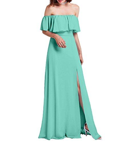 Amore Mousseline De Mariée De Robe De Mariée Épaule Robe De Demoiselle D'honneur De Soirée Haute Fente Turquoise