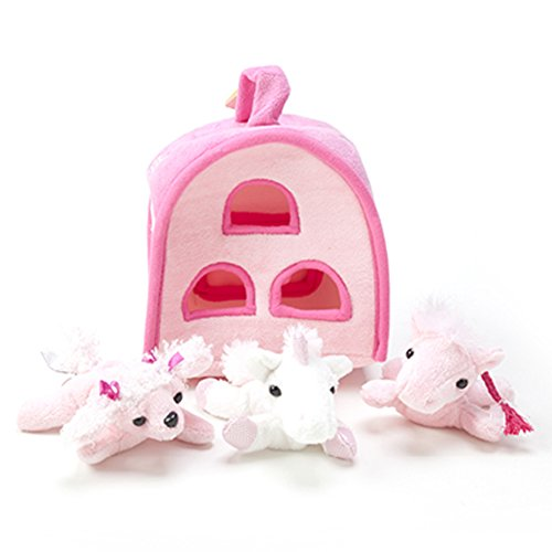 Children Girl Boy Toddler Stuffed Pony Toys with Three Ponies and a Plush Carrying Case - Glory Pink Salmon