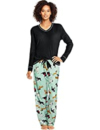 Womens Micropolar Fleece Long Sleeve V-Neck Tee/Pants Sleep Set