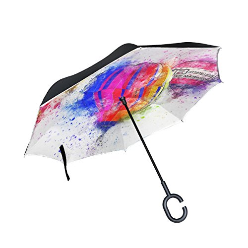 Iiakxnb Double Layer Inverted Balloon Air Art Abstract Watercolor Vintage Umbrellas Reverse Folding Umbrella Windproof Uv Protection Big Straight Umbrella For Car Rain Outdoor With C Shaped Handle