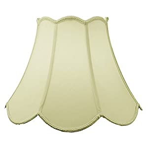 9x18x13 Scalloped Bell Lampshade Eggshell with Brass Spider fitter By Home Concept - Perfect for table and floor lamps - Large, Egg Shell