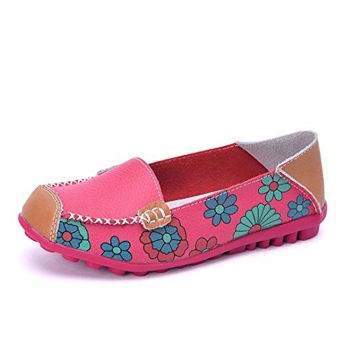 Joansam Donna Colore Chiaro Fiore Casual Stampato Slip On In Pelle Scarpe Basse Scarpe Rosso Rosa