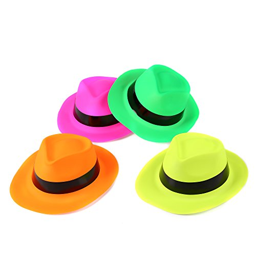 Fun Central AU582 12 Count, Assorted Neon Plastic Gangster Hats, Neon Hats, Perfect for Weddings, Bachelor Parties, Birthday Parties, Festive Holidays, Graduations