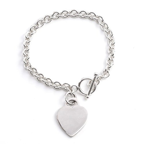 Silverly Womens .925 Sterling Silver Heart Charm Toggle T Bar Bracelet, 19 (Rolo Chain Toggle Bracelet)