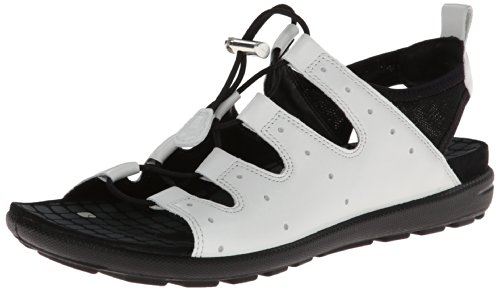 Ecco Footwear Womens Jab Toggle Gladiator Sandal, White/Black, 38 EU/7-7.5 M US by ECCO
