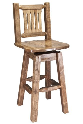 Cheap Montana Woodworks Homestead Collection Barstool with Back and Swivel, Ergonomic Wooden Seat, Stain and Lacquer Finish
