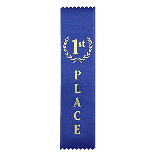Award Gold Ribbon - 1st Place (Blue) Quality Award Ribbons - 50 Count Metallic Gold foil Print - Made in The USA